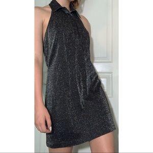 Sparkled Collared Halter Dress